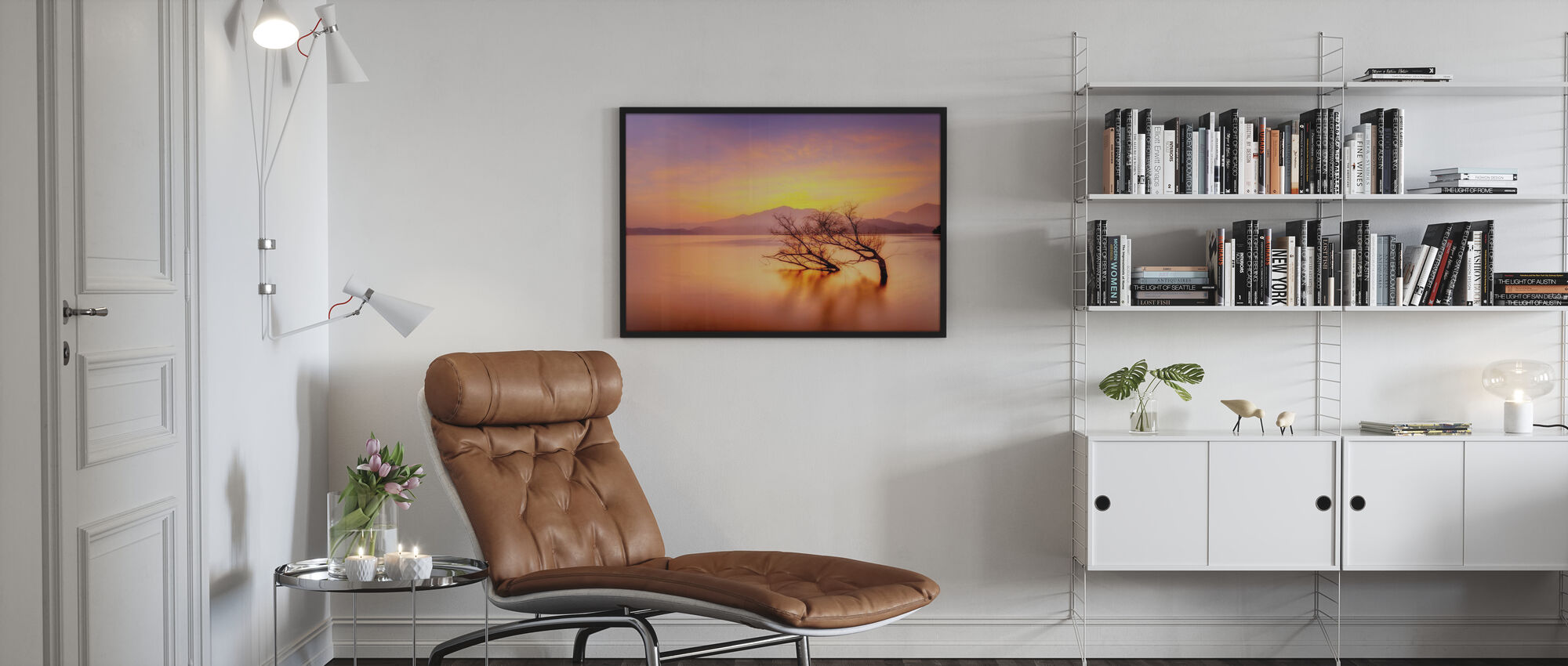 Rosy Sunset over Lake - Framed print - Living Room