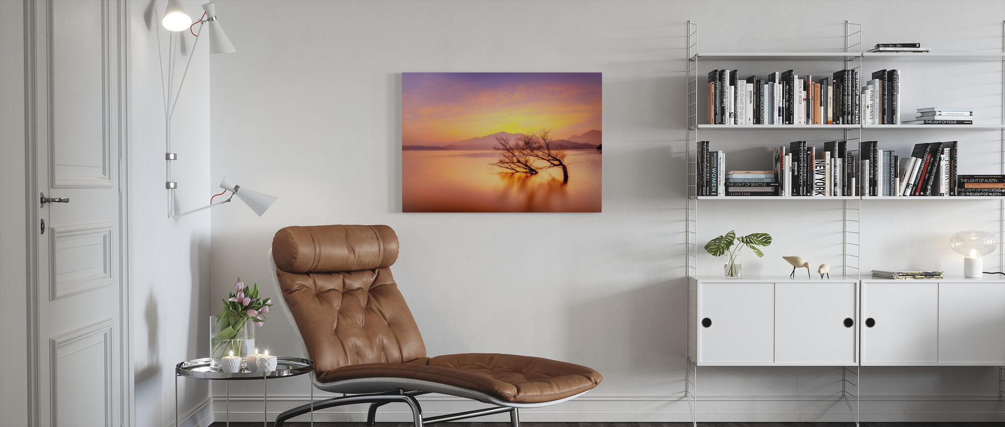 Rosy Sunset over Lake - Canvas print - Living Room