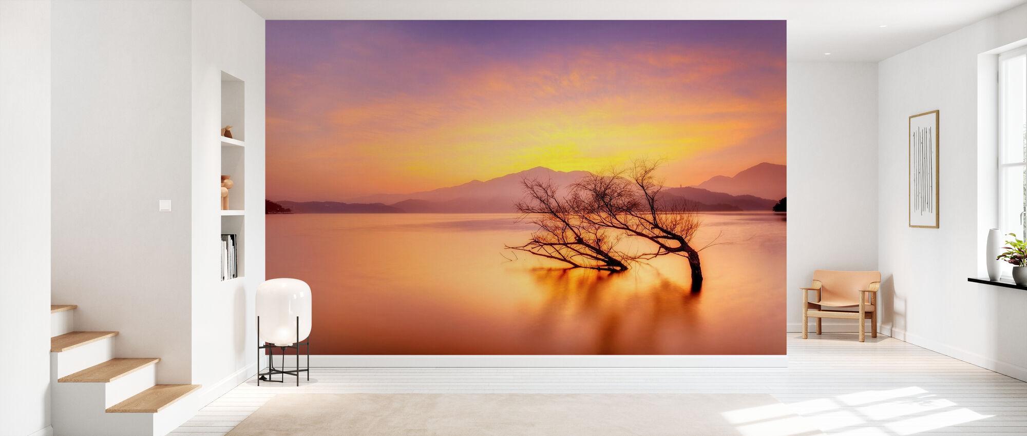 Rosiger Sonnenuntergang über See - Tapete - Flur