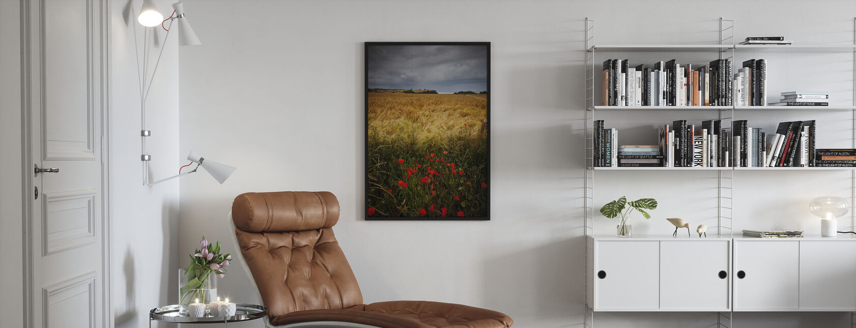 Poppies and Hay Field - Poster - Living Room