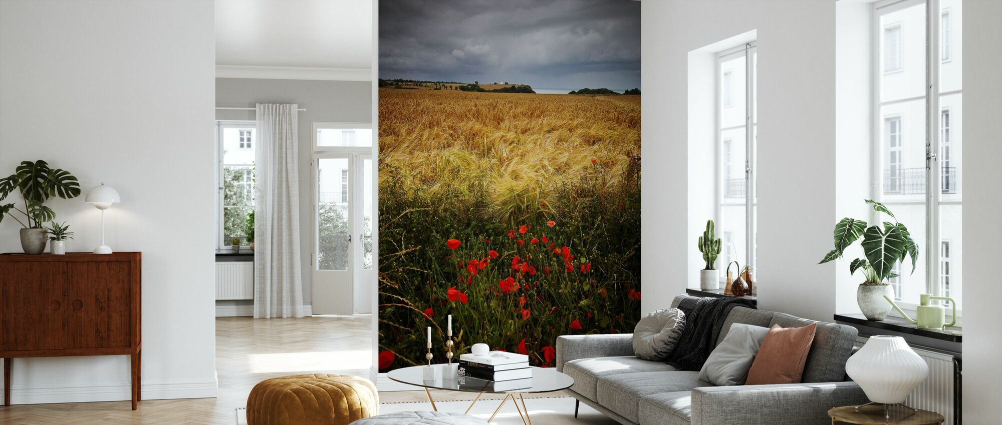 Poppies and Hay Field - Wallpaper - Living Room