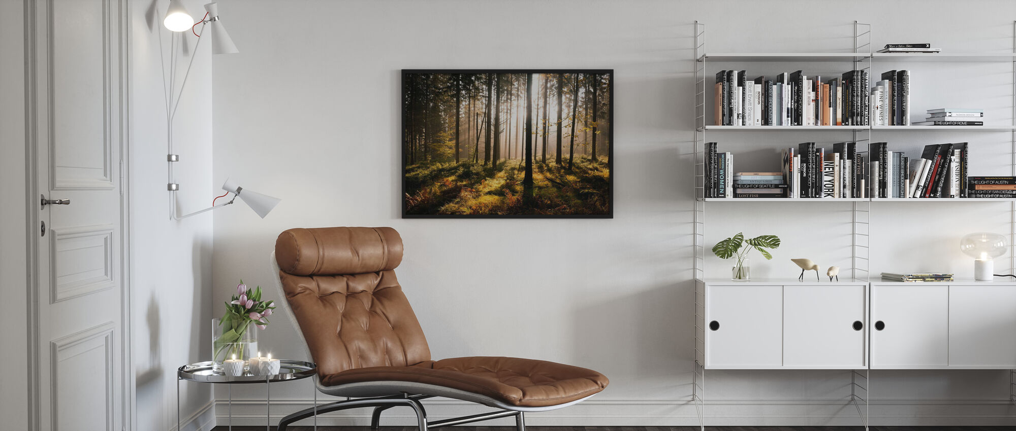 Herfst bos met zonnestralen - Ingelijste print - Woonkamer