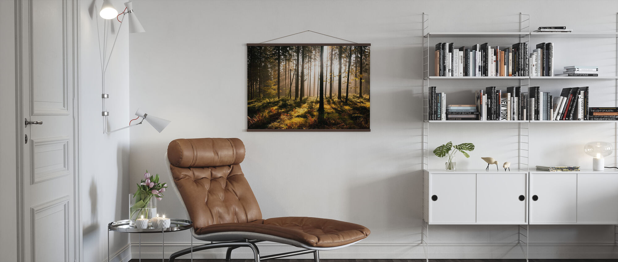 Fall Forest with Sunrays - Poster - Living Room