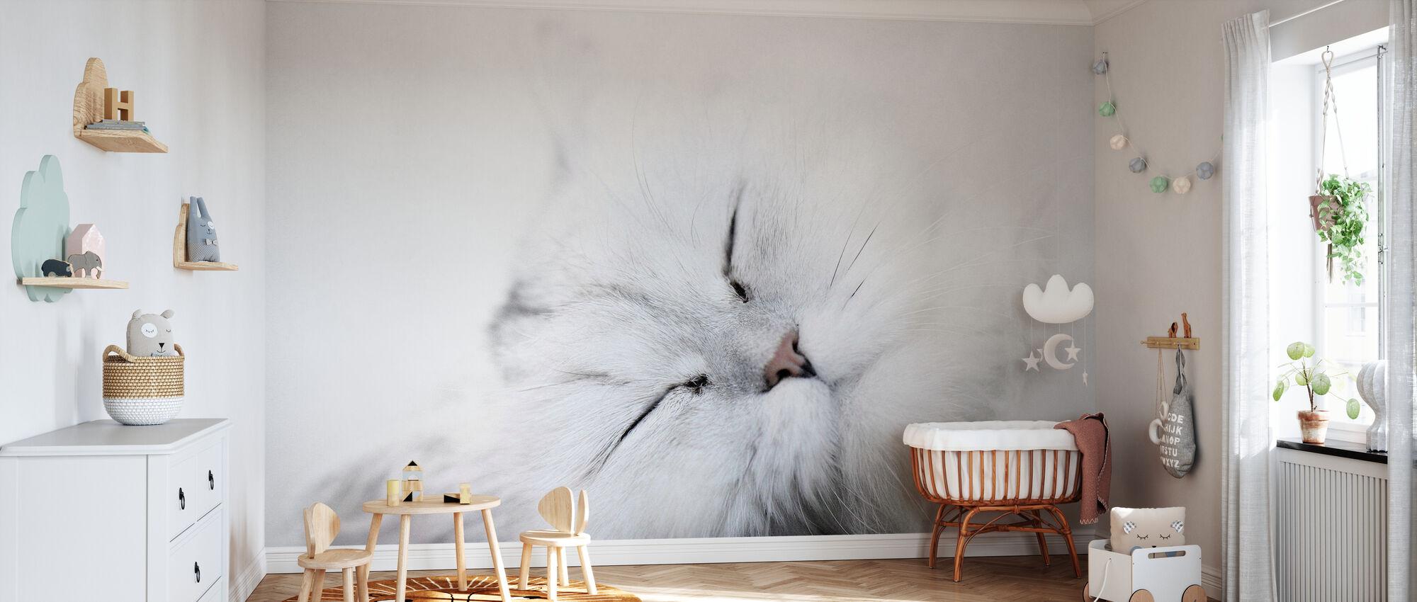 Witte Kat - Behang - Babykamer
