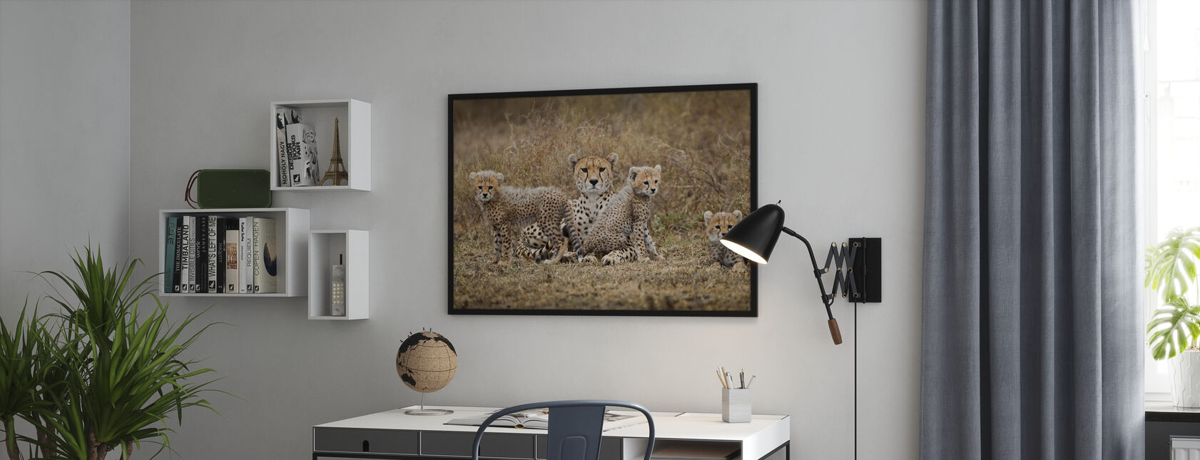 Jachtluipaard welpen en Moeder - Poster - Kantoor