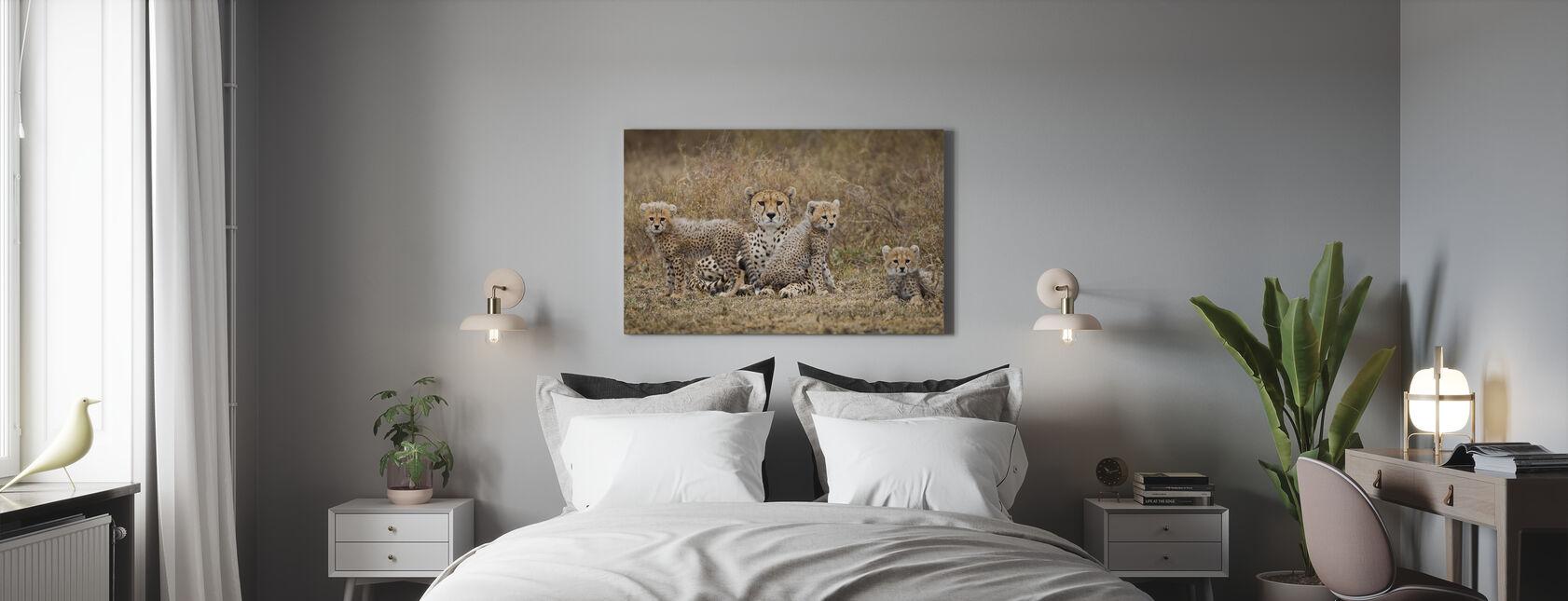 Jachtluipaard welpen en Moeder - Canvas print - Slaapkamer