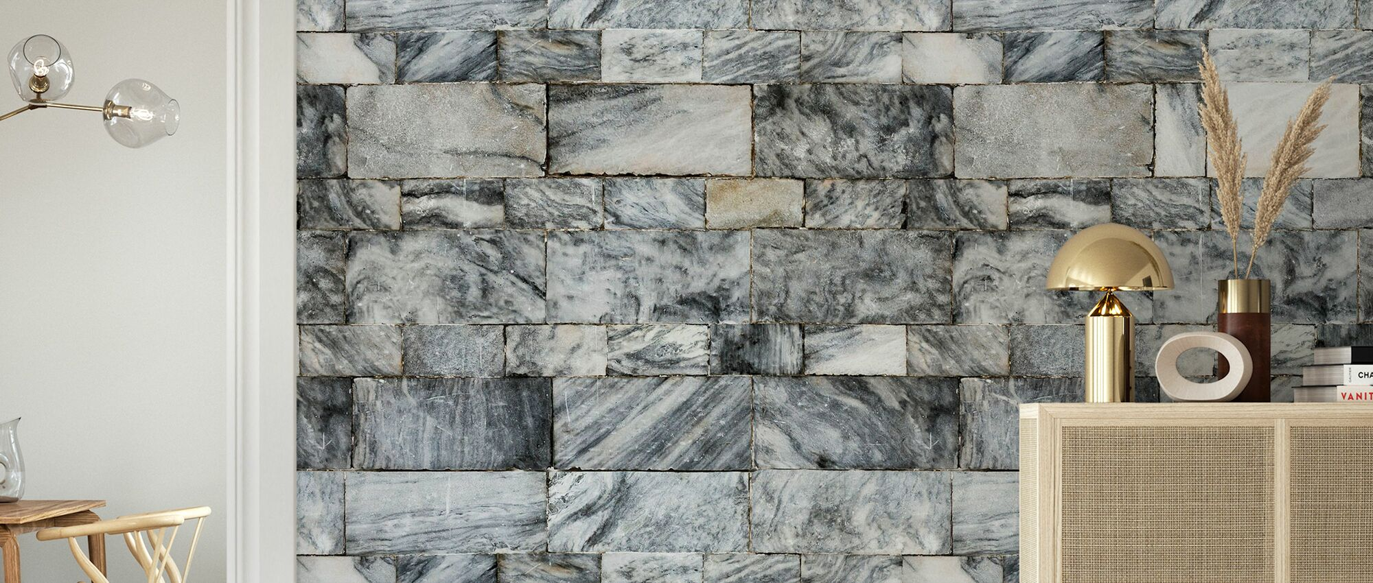 Marble Stone Wall - Wallpaper - Living Room