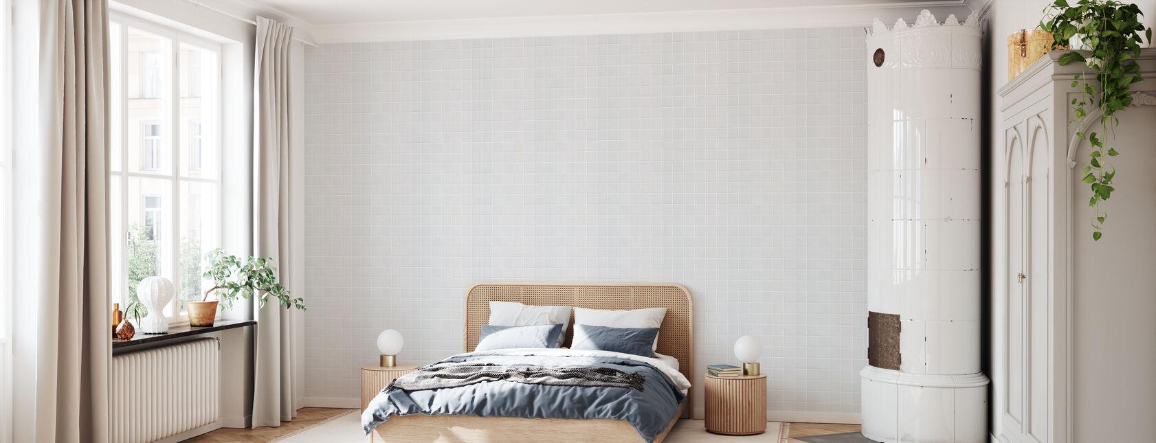 Weiße Keramikfliesen - 15x15 - Tapete - Schlafzimmer