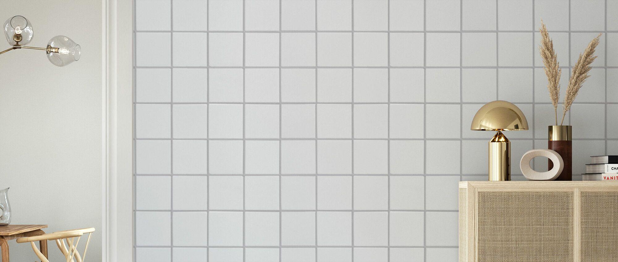 White Ceramic Tiles - Grey Seam 15*15 - Wallpaper - Living Room