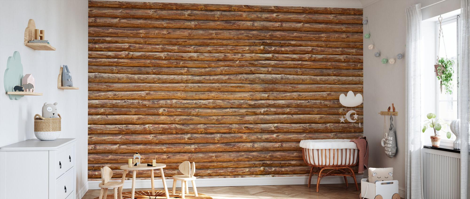 Wooden Logs Wall - Wallpaper - Nursery