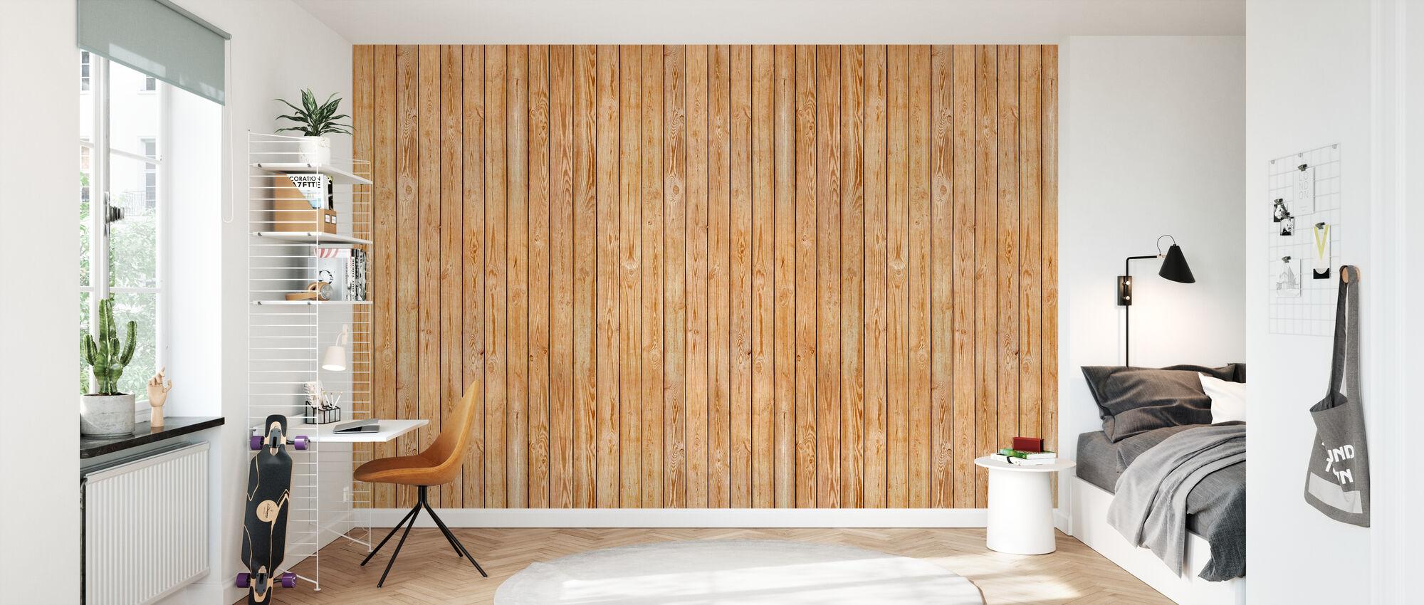 Wooden Plank Wall - Wallpaper - Kids Room