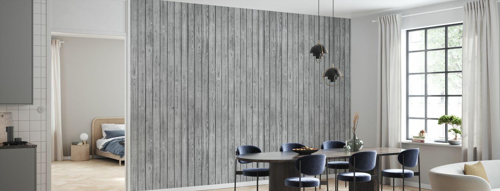 Puinen lankku seinä - Harmaa - Tapetti - Keittiö