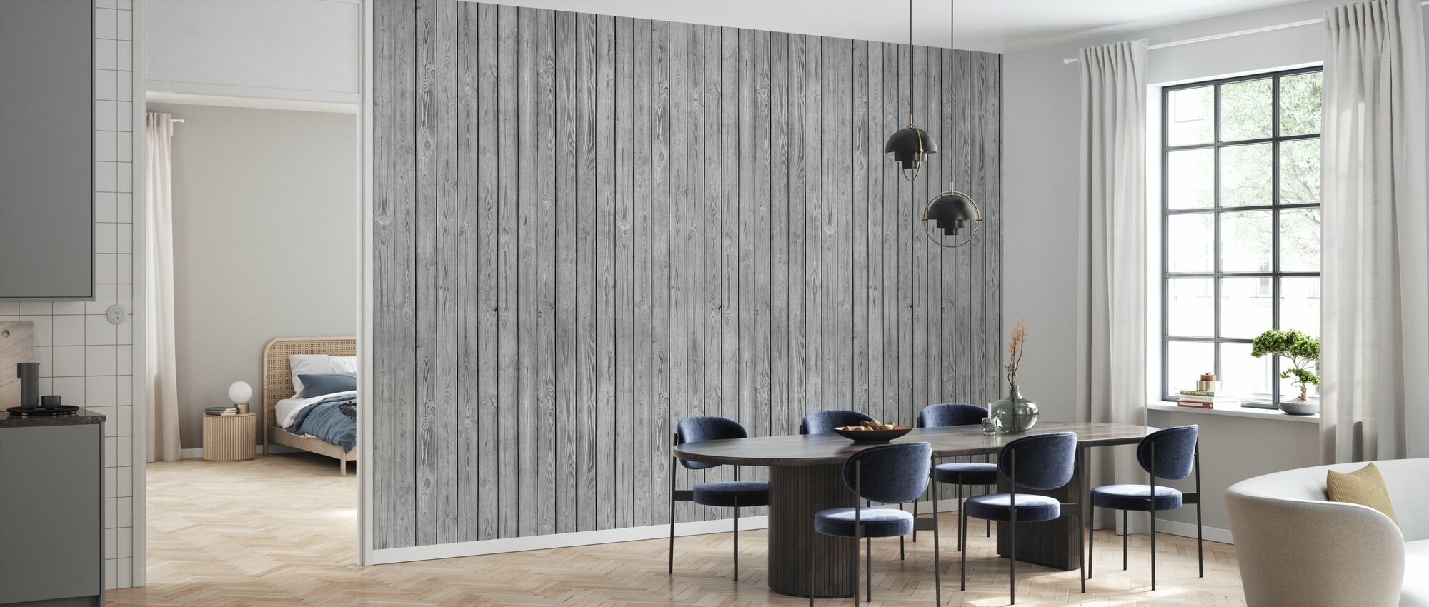Wooden Plank Wall - Grey - Wallpaper - Kitchen
