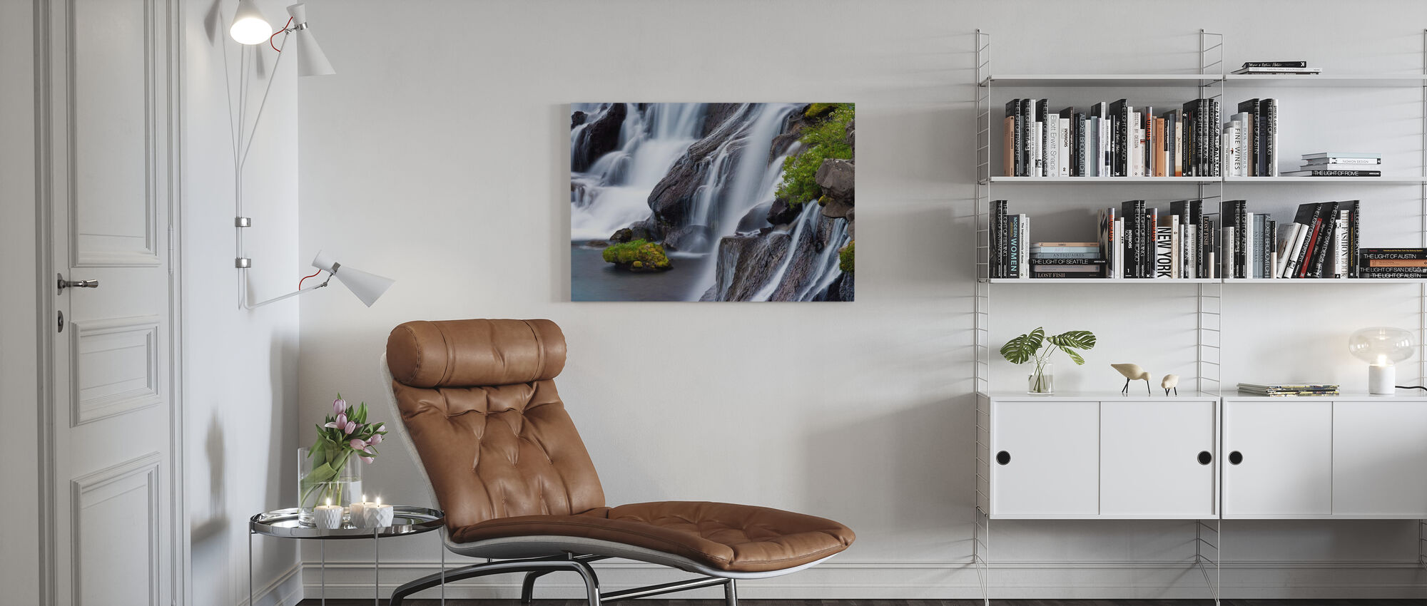 Hraunfossar Watervallen in IJsland - Canvas print - Woonkamer