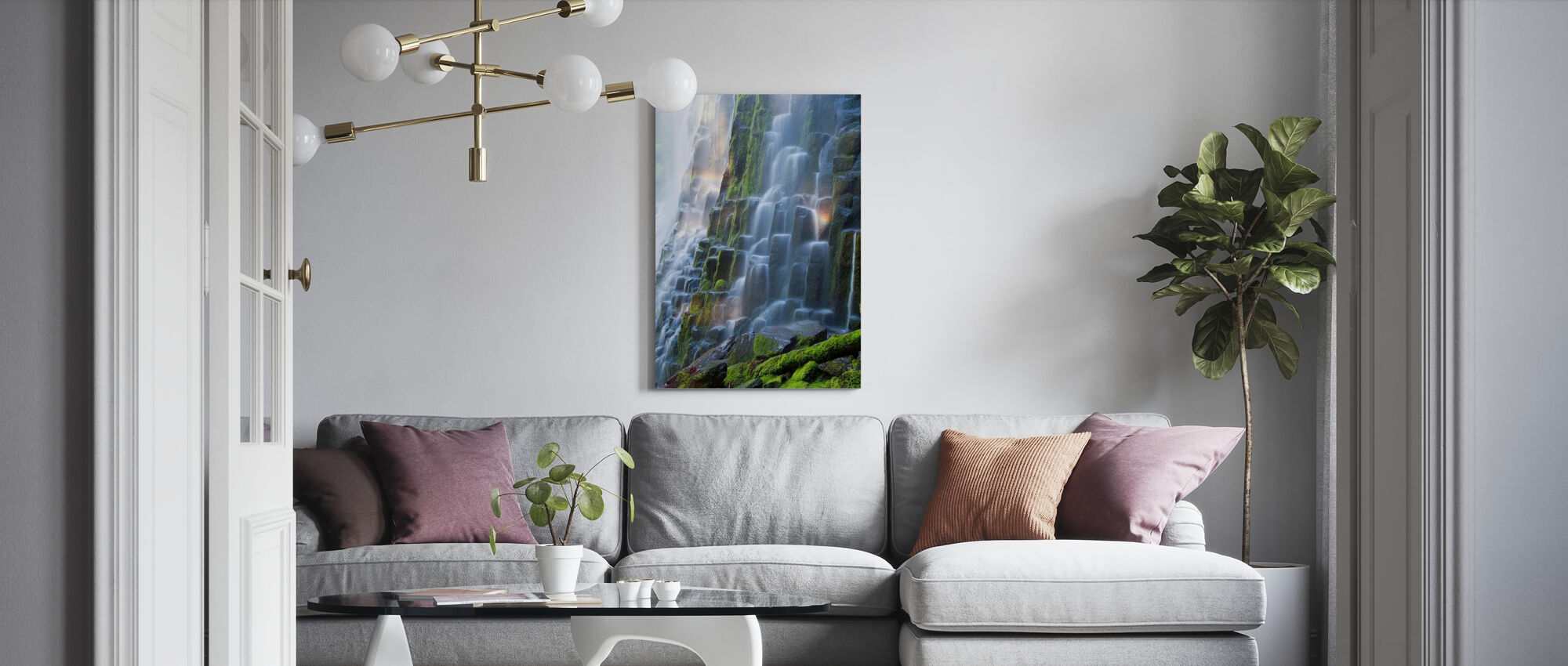 Proxy Falls with Rainbow - Canvas print - Living Room