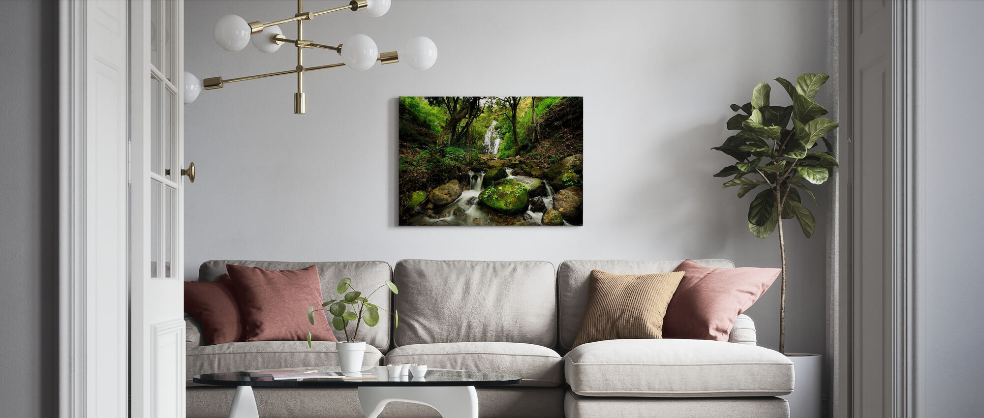 Peaceful Forest Waterfall - Canvas print - Living Room