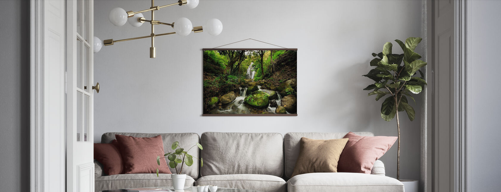 Peaceful Forest Waterfall - Poster - Living Room