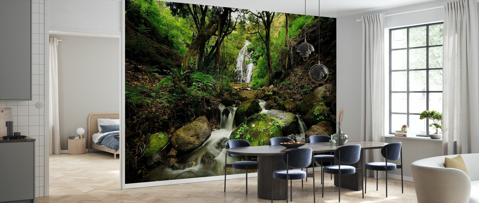 Peaceful Forest Waterfall - Wallpaper - Kitchen