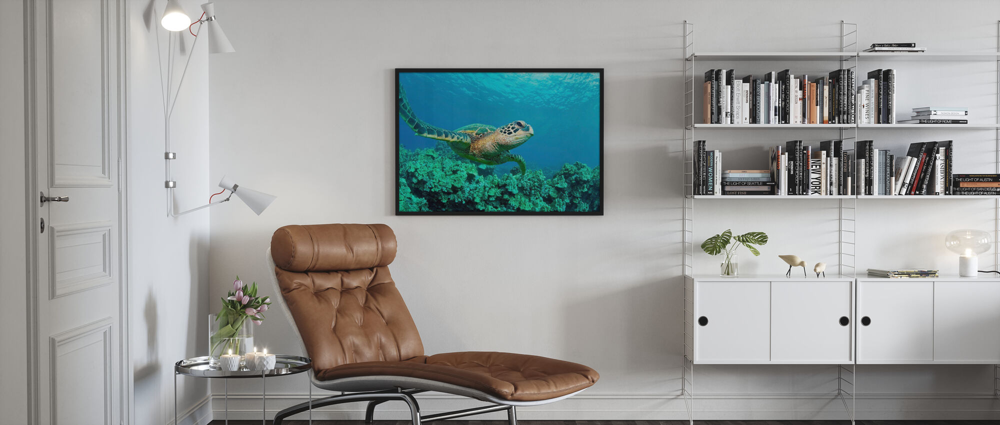 Zeeschildpad in Koraal - Poster - Woonkamer