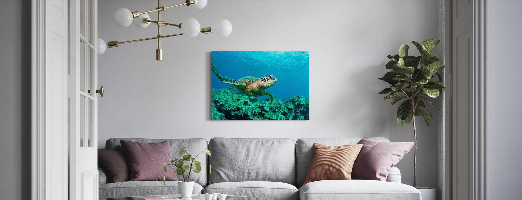 Zeeschildpad in Koraal - Canvas print - Woonkamer