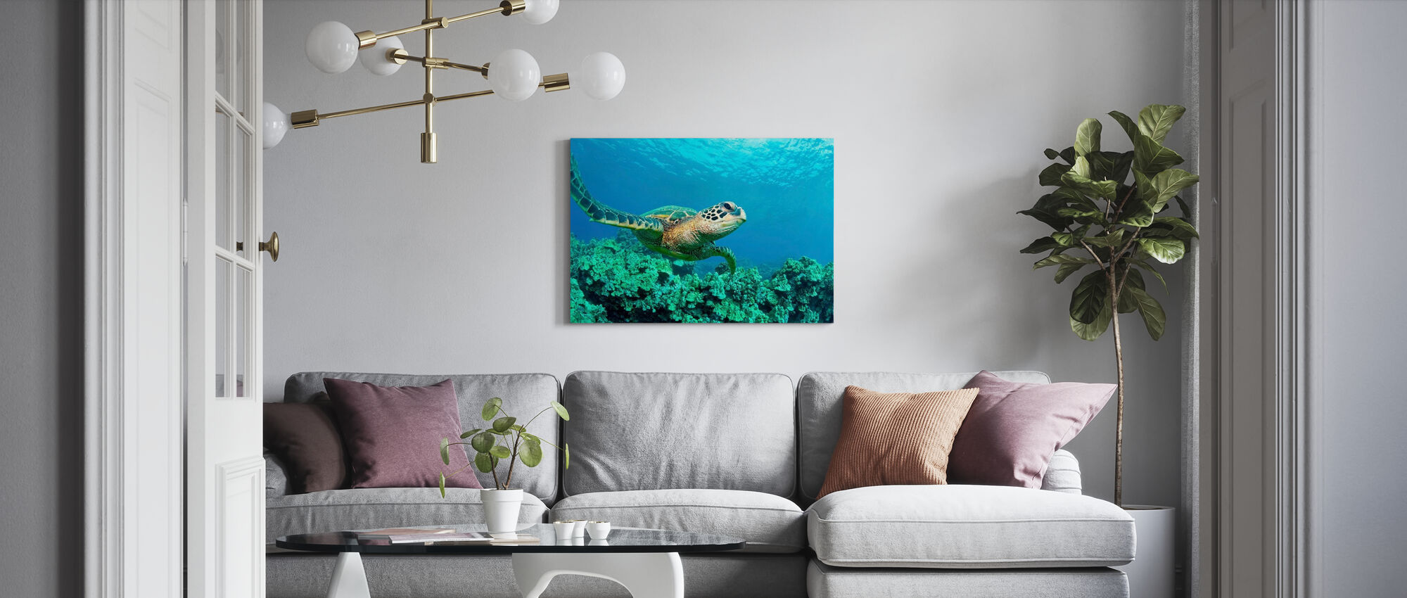 Sea Turtle in Coral - Canvas print - Living Room