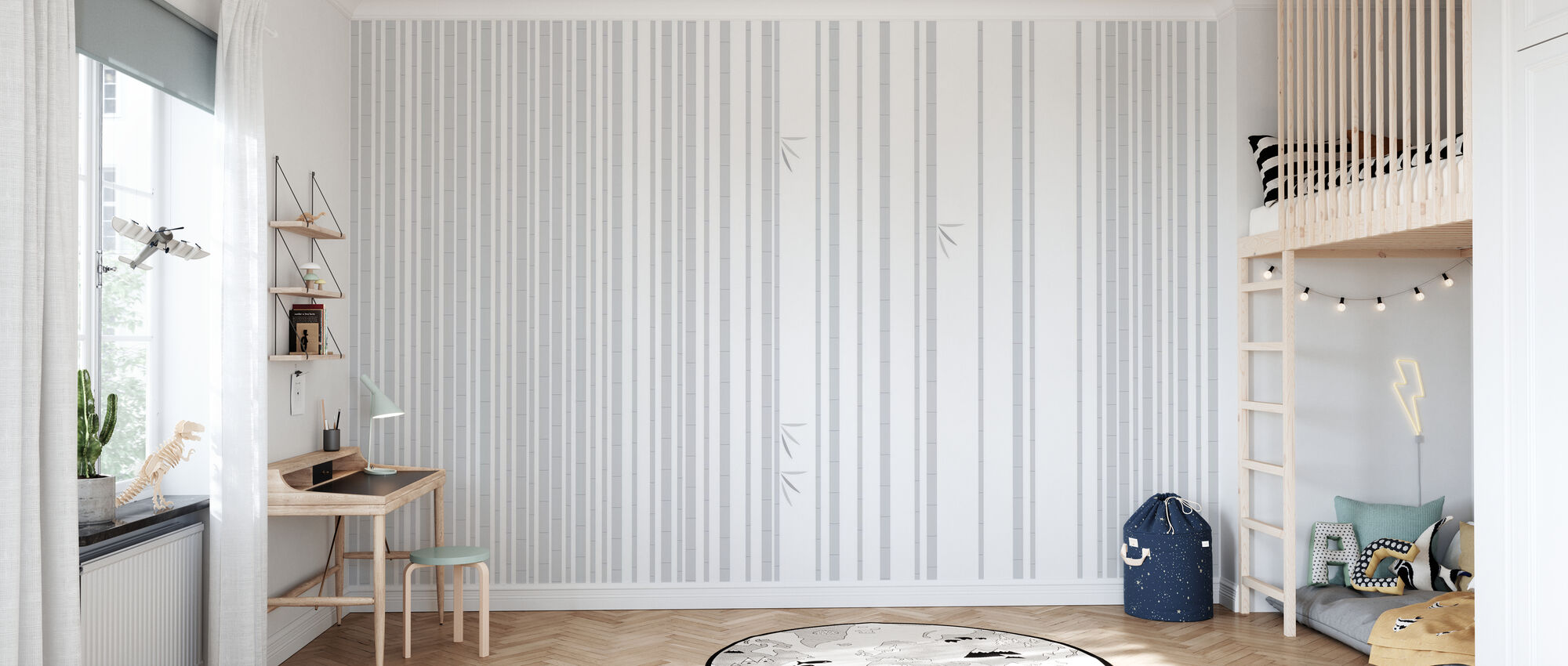 Bambu Forest Grey - Wallpaper - Kids Room