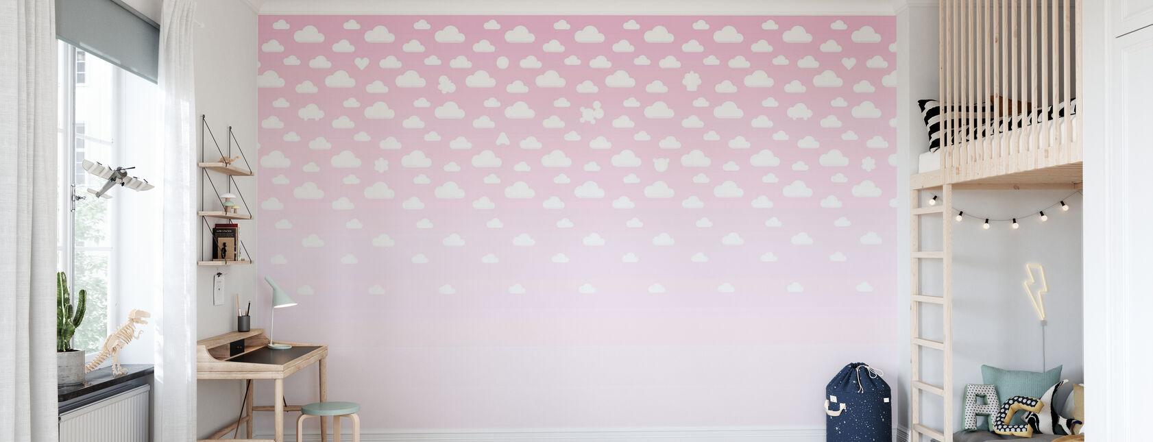 Rosa de manchas de nubes - Papel pintado - Cuarto de niños