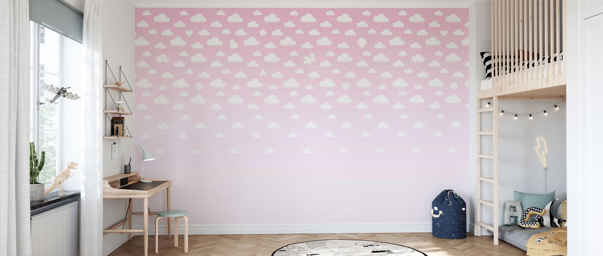 Cloudspotting Roze - Behang - Kinderkamer