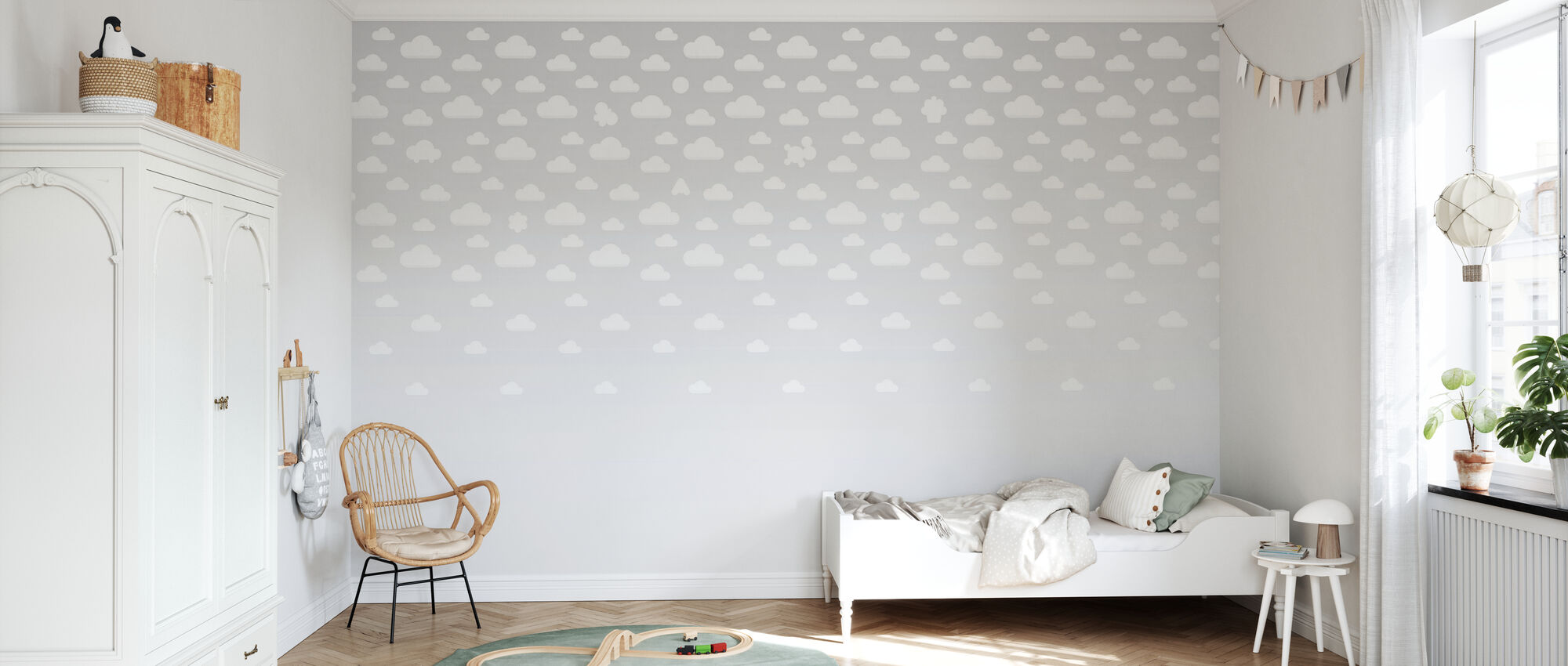 Cloudspotting Grey - Wallpaper - Kids Room