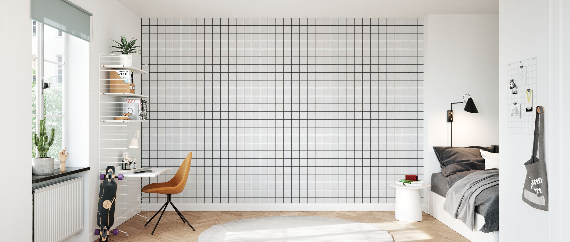 White Ceramic Tiles - 10x10 Antracit Seam - Wallpaper - Kids Room