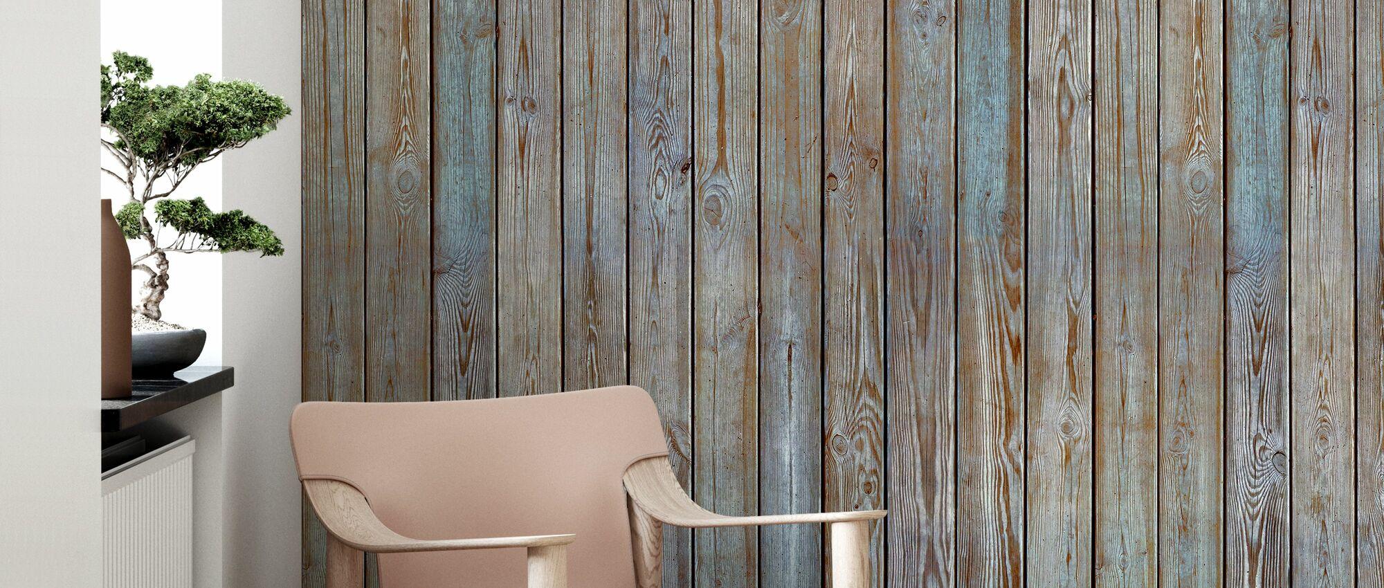 Holzplanke Wand - Altsilber - Tapete - Wohnzimmer