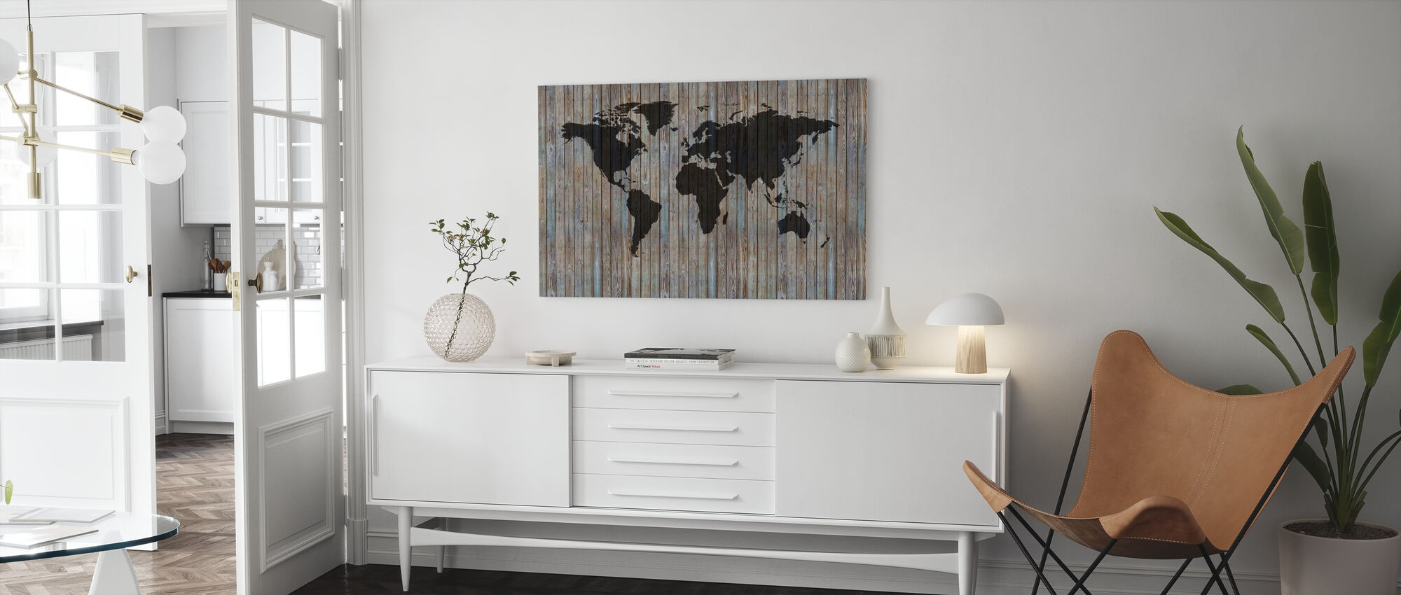 World Map Wooden Plank - Old Silver - Canvas print - Living Room