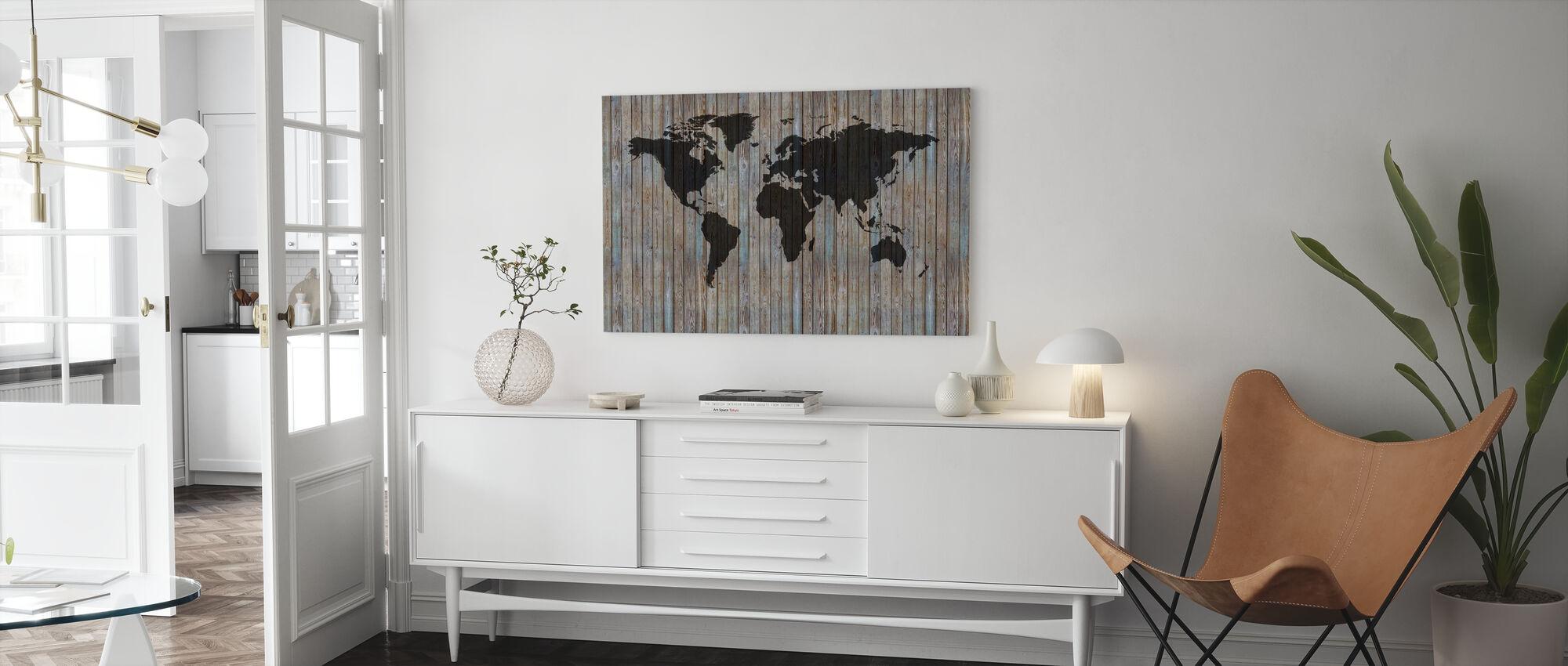 Wereldkaart Houten Plank - Oud Zilver - Canvas print - Woonkamer