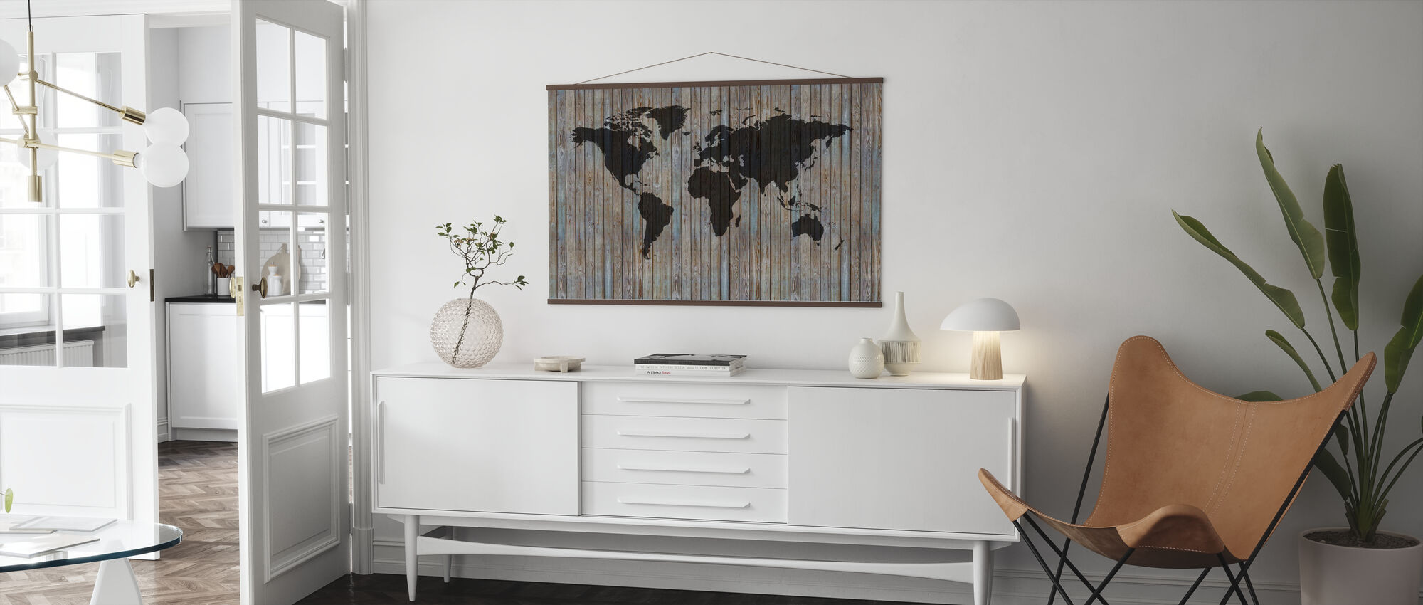 Weltkarte Holzdiele - Old Silver - Poster - Wohnzimmer