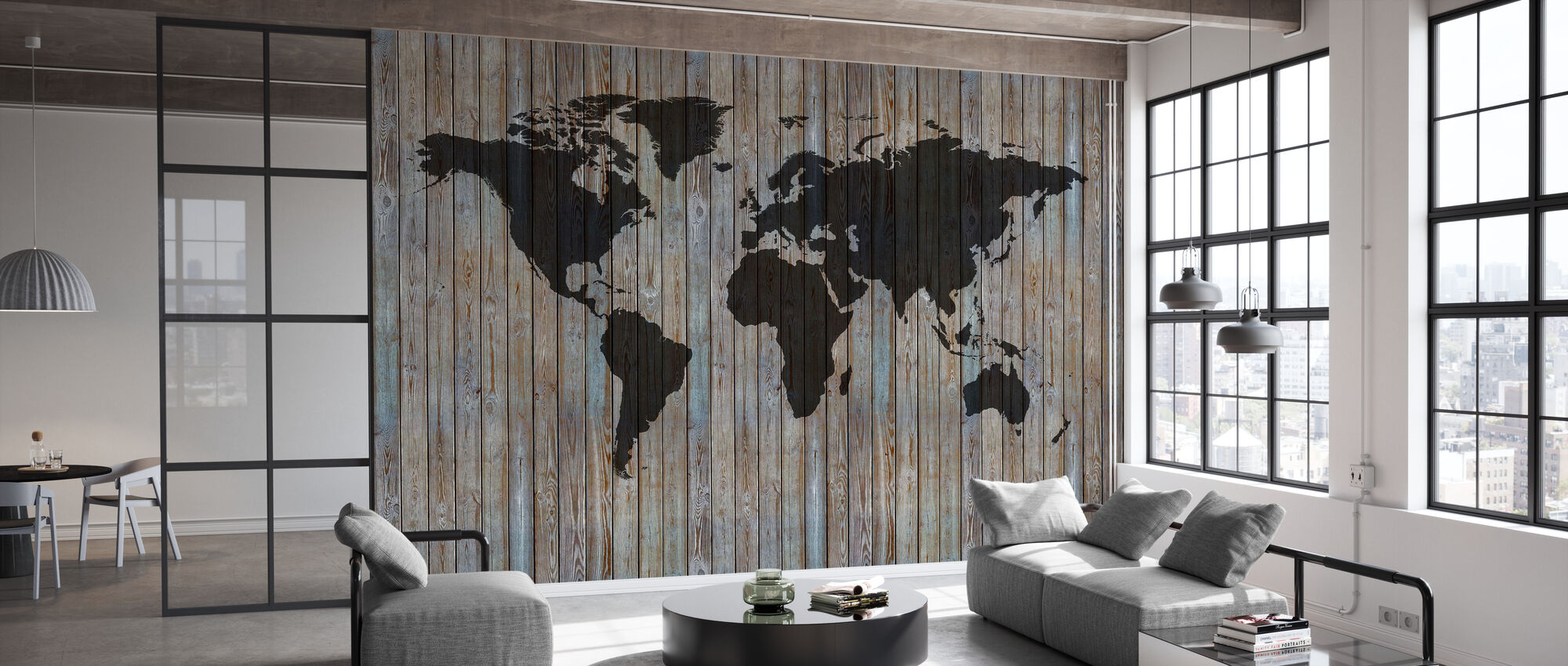 World Map Wooden Plank - Old Silver - Wallpaper - Office