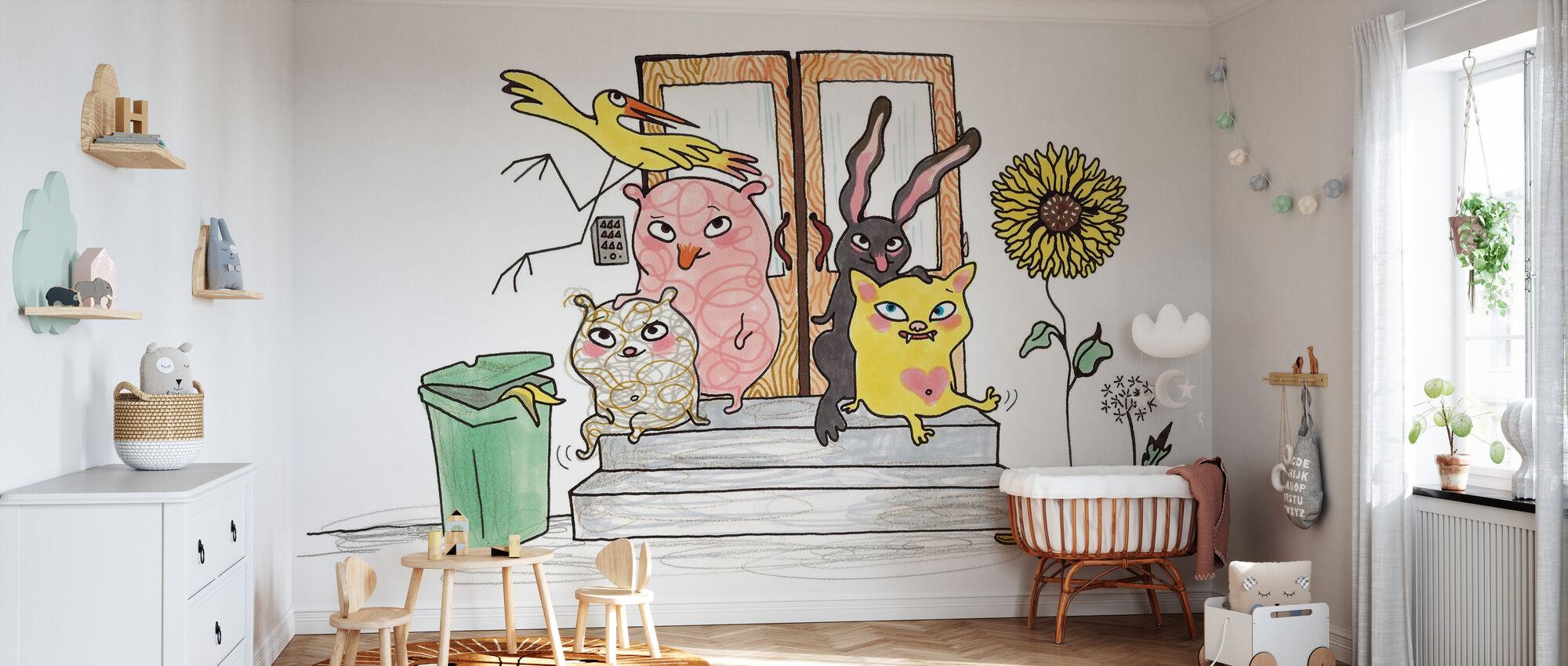 Hvem bor her - Tapet - Babyværelse