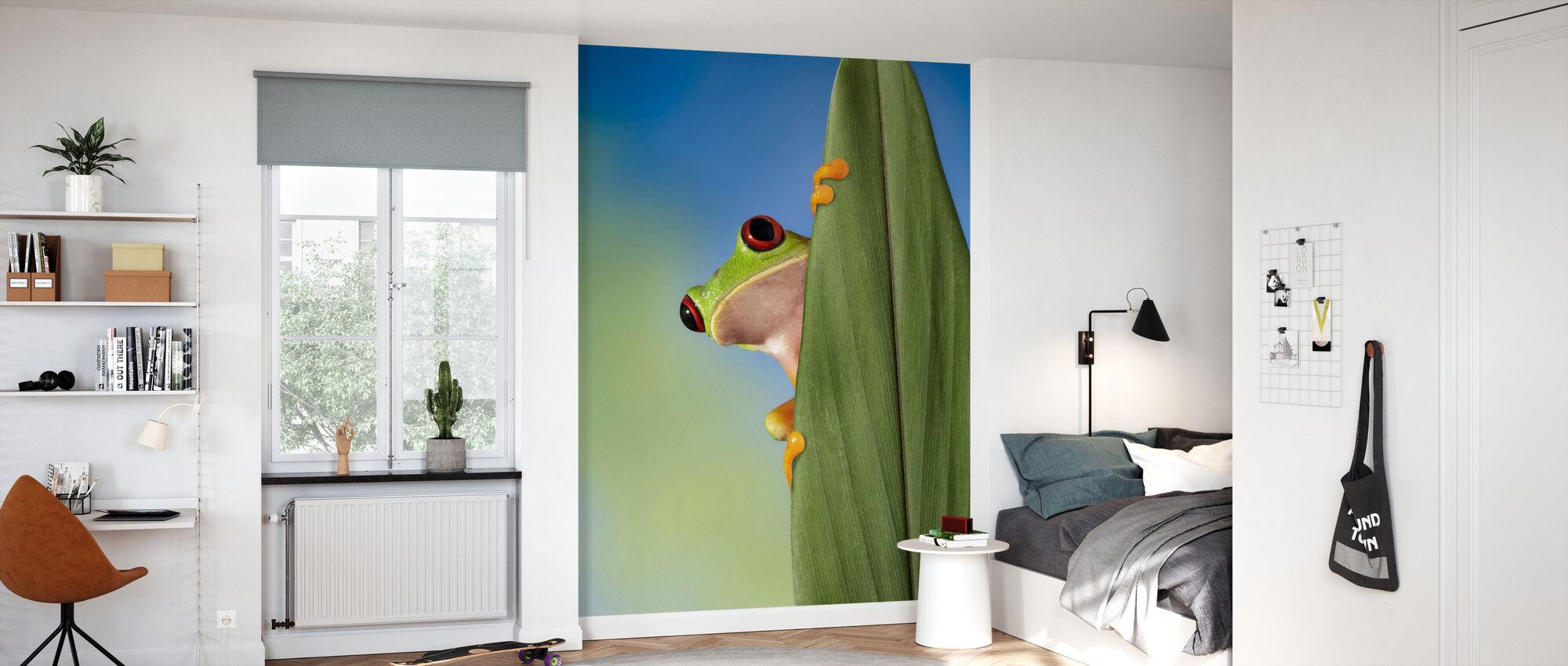 Red Eyed treet frosk Kikker fra bak et blad - Tapet - Barnerom
