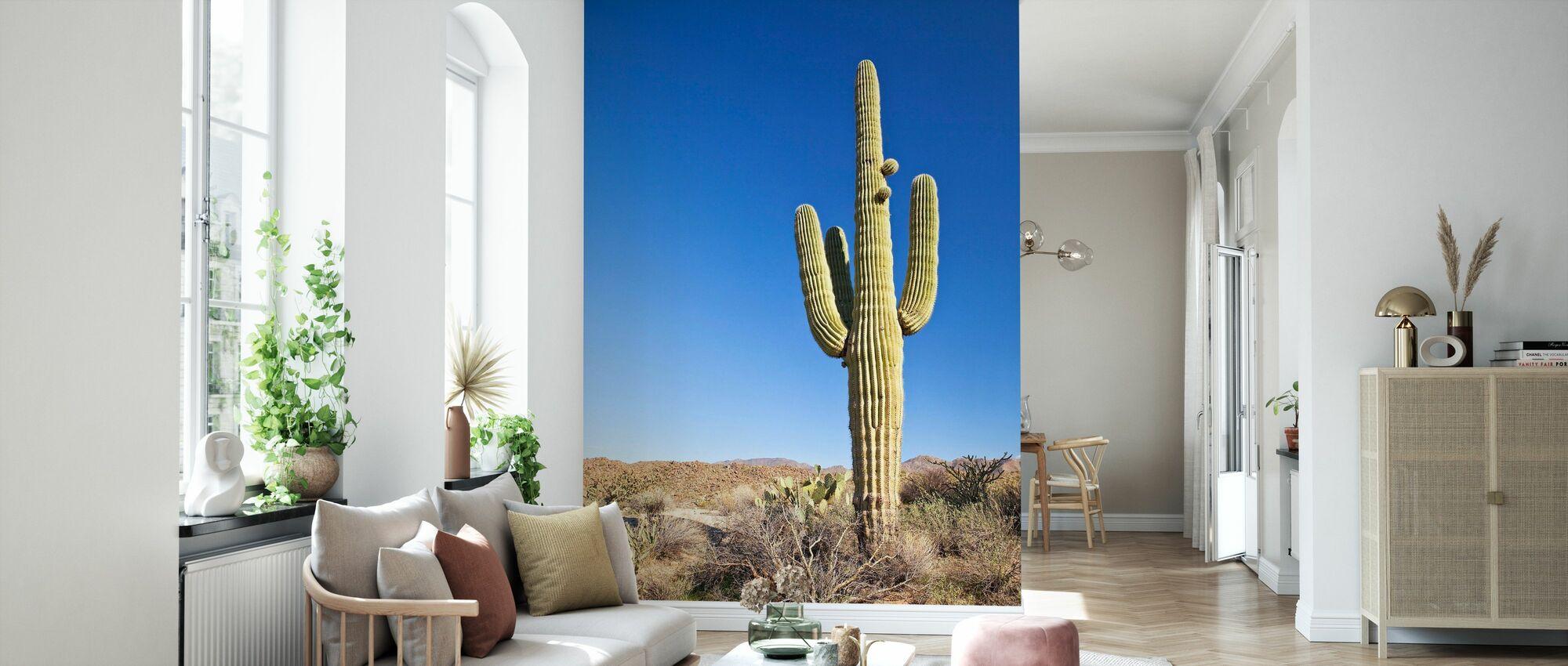 Saguaro Cactus in Desert - Wallpaper - Living Room