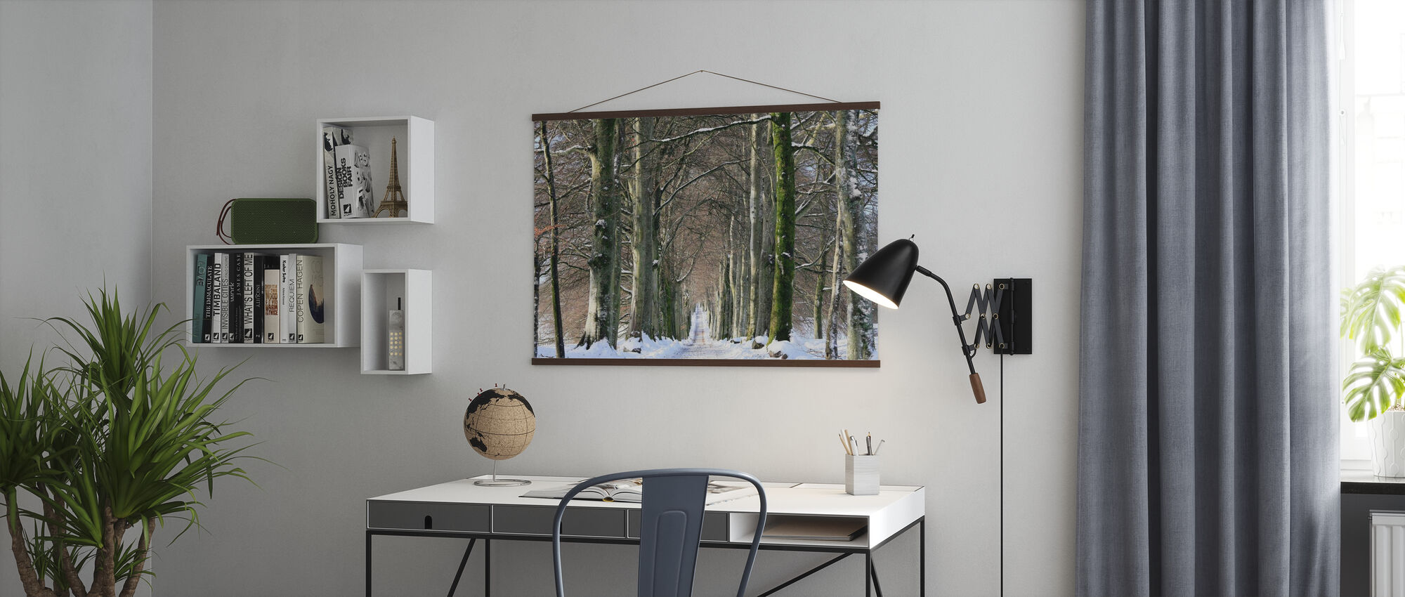 Snowy Tree-lined Avenue - Poster - Office
