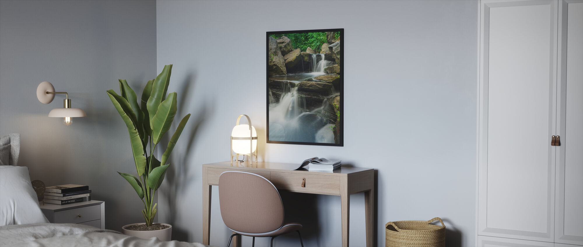 Scenic Waterfall in Central Park - Poster - Bedroom