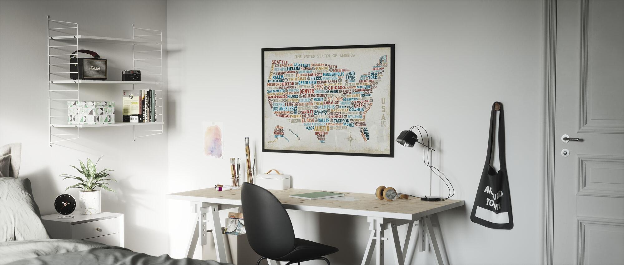 US City Map - Poster - Kids Room