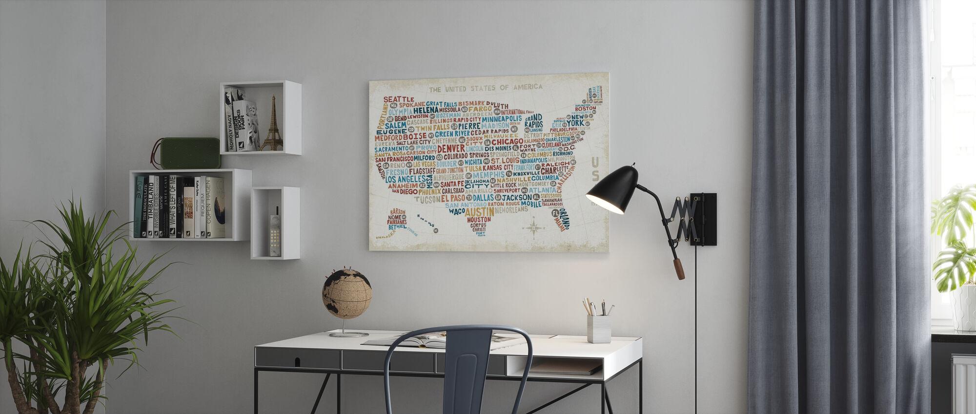 US City Kort - Billede på lærred - Kontor