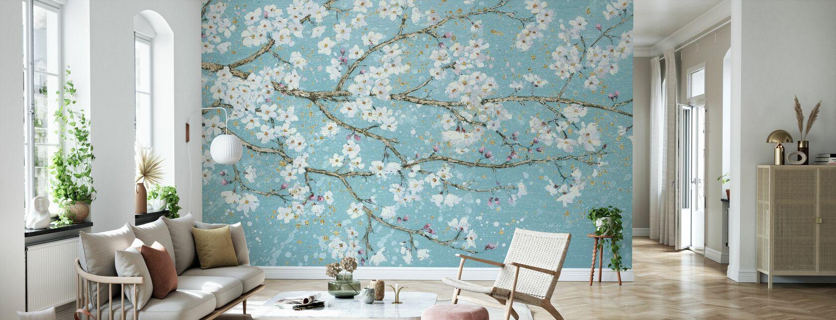April Breeze I Teal - Wallpaper - Living Room