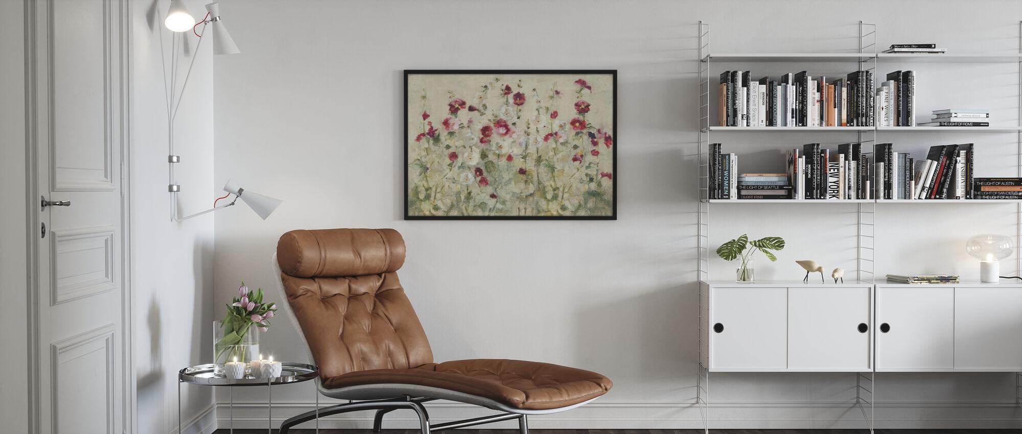 Hollyhocks Row Cool - Framed print - Living Room