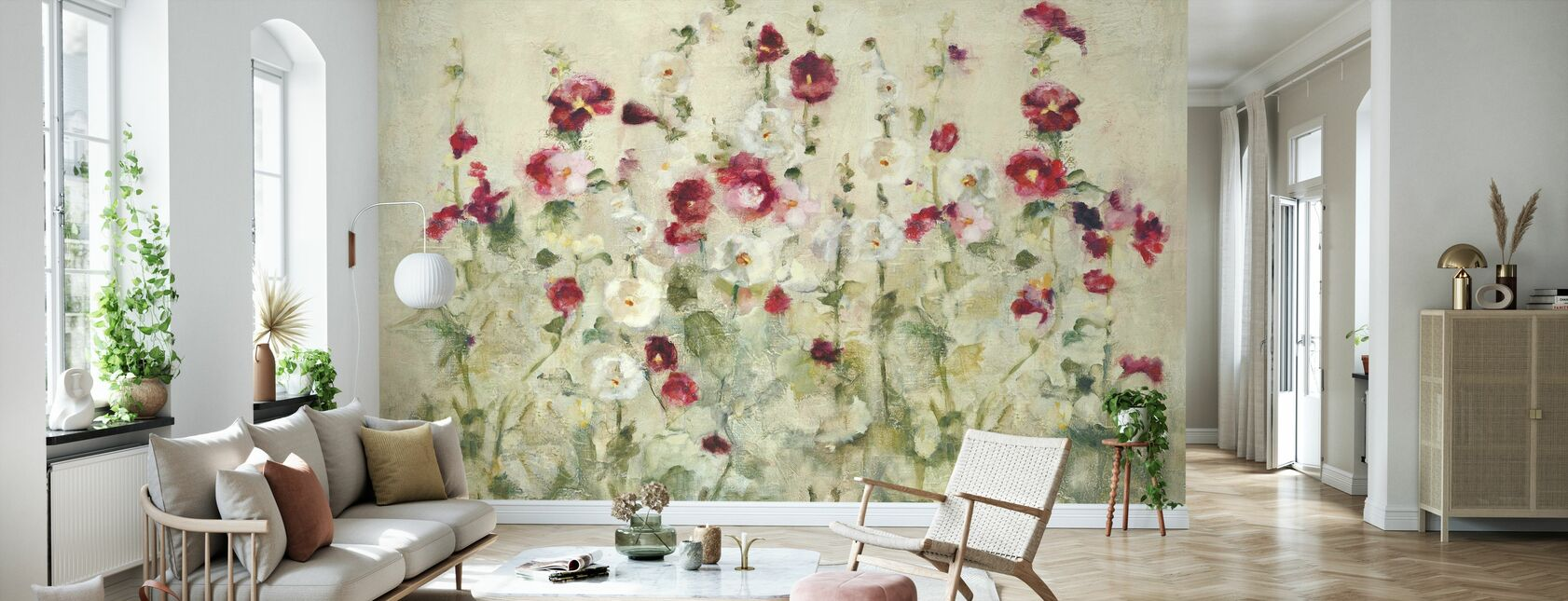 Hollyhocks Row Cool - Wallpaper - Living Room