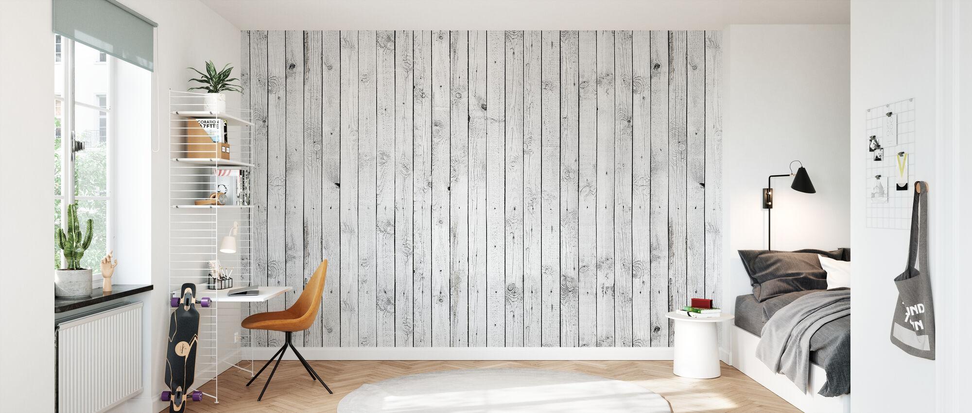 White Painted Wood - Wallpaper - Kids Room