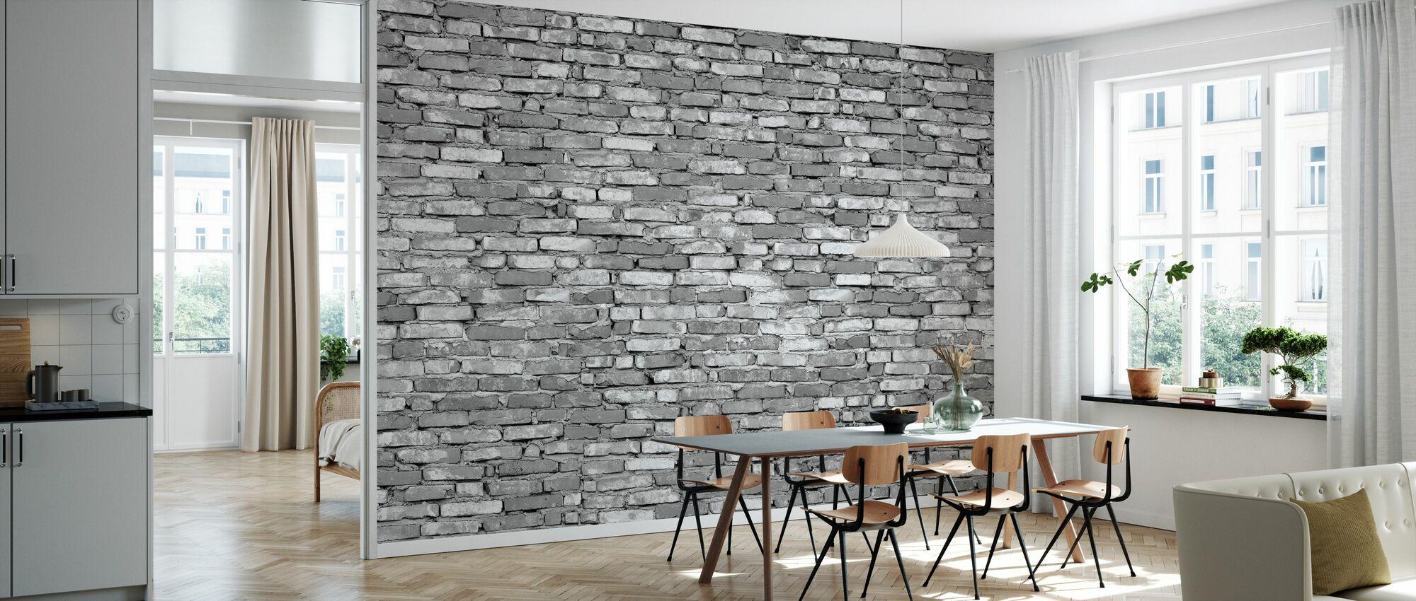 Old Brick Wall - Grey - Wallpaper - Kitchen