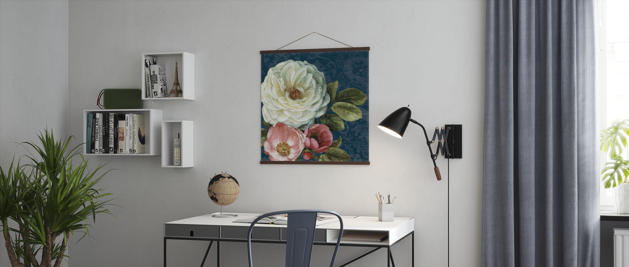Floral Damask on Indigo - Poster - Office