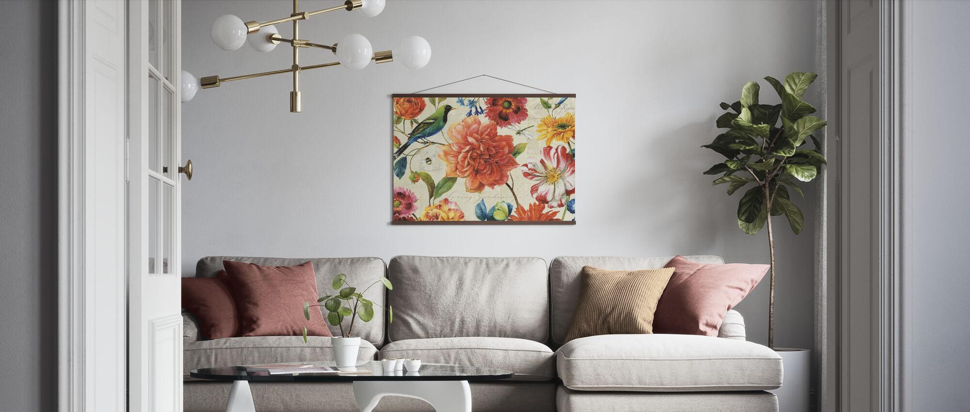 Rainbow Garden Cream - Poster - Living Room
