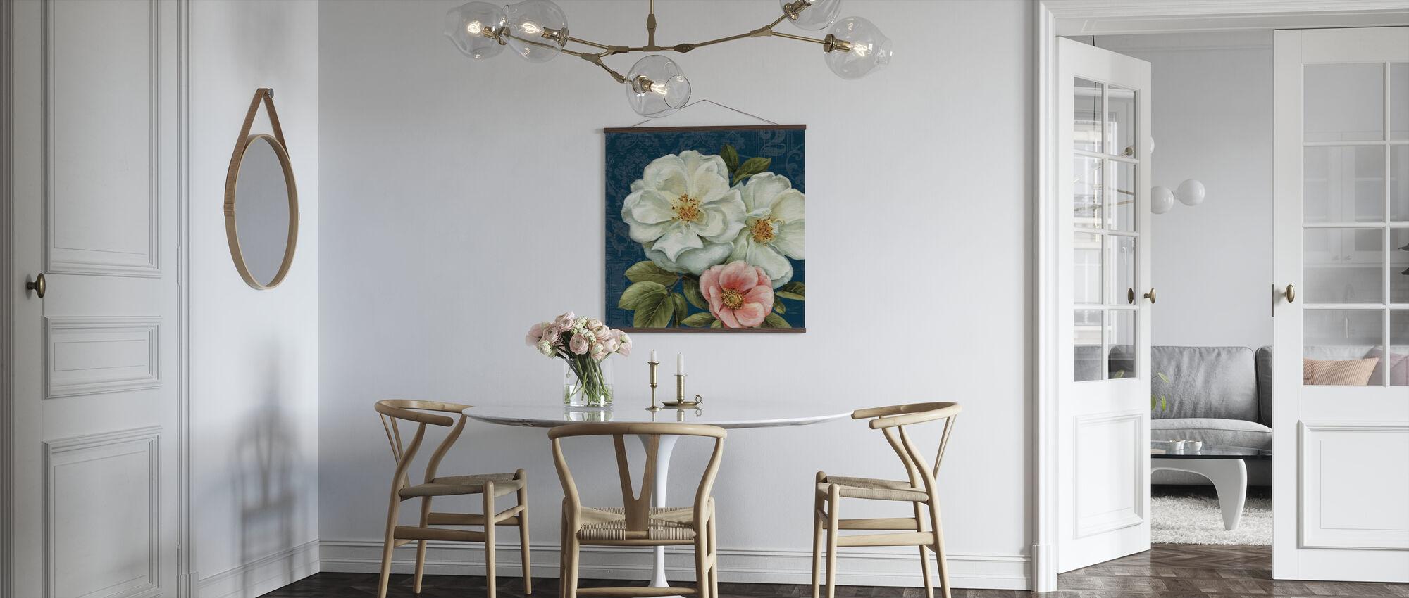 Blommig Damast på Indigo 2 - Poster - Kök